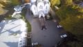 Newlyweds gather outside Orthodox church aerial 37336754