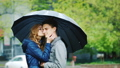 couple, umbrella, embracing 37369578