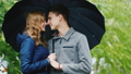 couple, umbrella, embracing 37369691
