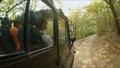 Traveling in the forest on a dirt road in a 37499350