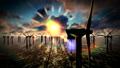 Dusk skies over windmill offshore turbines farm 37512926