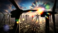 Dusk skies over windmill offshore turbines farm 37516602