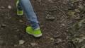 Tourist Girl Is Walking Along Forest. Female Feet 37586723