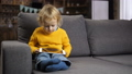 Cute blond toddler boy using touchpad on sofa 37737640