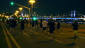 Night city run, crowd runners with LED lights 37875553
