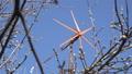 Wind Turbine Start Rotation, Green Energy on Blue 38141888