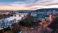 aerial timelapse night view on bridges in Prague 38299755