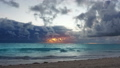 Dramatic caribbean sunrise over ocean waves. Storm 38356062