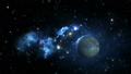 Blue nebula with planet and moon 38463099