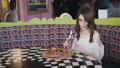 Portrait of pretty girl preparing to eat pizza in 39310907