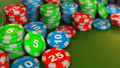 3d animation of camera panning over casino chips 39399506