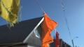 Colorful indian flags in sky at yoga summer camp 39494211