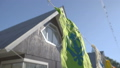 Indian flags in the wind at yoga vacation camp 39494212