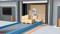 컨테이너에서 양륙중인 로봇. 자동화 물류 센터의 개념 40142154