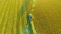 FHD FullHD aerial view. Low flight over combine harvester gathers the wheat at yellow rural field. 40501932