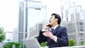在户外和英语会议·繁忙的商人形象东京·谈判爆裂 40505113