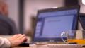 Business seminar. Woman typing on laptop keyboard. slow-motion 40515727