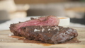 season with pepper and salt. Grilling steak on grill pan. Beefsteak cooking on a kitchen. Fresh 40651885