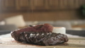 season with pepper and salt. Grilling steak on grill pan. Beefsteak cooking on a kitchen. Fresh 40651906