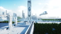 Futuristic city, town. The concept of the future. Aerial view. Realistic FullHD animation. 40675891