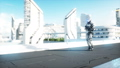 Military robot with gun walking. Futuristic city, town. Realistic FullHD animation. 40696024