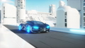 black futuristic electric car very fast driving in sci fi sity, town. Concept of future. Realistic 40696033