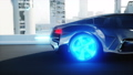 black futuristic electric car very fast driving in sci fi sity, town. Concept of future. Realistic 40696038