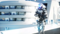 Military robot with gun walking. Futuristic city, town. Realistic FullHD animation. 40696040
