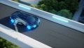 black futuristic electric car very fast driving in sci fi sity, town. Concept of future. Realistic 40696049