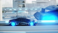 black futuristic electric car very fast driving in sci fi sity, town. Concept of future. Realistic 40696059