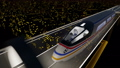 High-speed passenger train moves in a glass tunnel 40745341