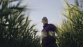 Portrait of young farmer in a field examining wheat crop - slow motion. 40759085