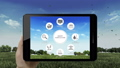 Click Smart agriculture farming icon in pad. IoT 40772159