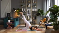 Woman does yoga in loft-studio 40816079