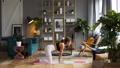 Woman does yoga in loft-studio 40816106