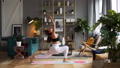 Woman does yoga in loft-studio 40816118