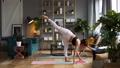Woman does yoga in loft-studio 40816119