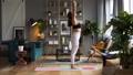 Woman does yoga in loft-studio 40818052