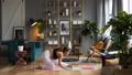 Woman does yoga in loft-studio 40818130