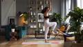 Woman does yoga in loft-studio 40818131