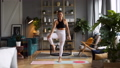Woman does yoga in loft-studio 40848515