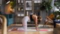 Woman does yoga in loft-studio 40848516