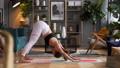 Woman does yoga in loft-studio 40848519