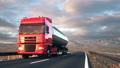 semi-trailer tank truck driving on a desert road 41001631