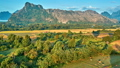 Aerial rural mountain valley sunrise view 41020245