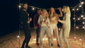 party, group men and women dancing and laughing during happy holiday on quayside at night time 41563447