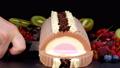 Chocolate vanilla strawberry ice cream with fruits 41687645