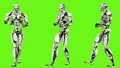 Robot android is backwards rife walk. Realistic looped motion on green screen background. FullHD. 41693645