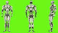 Robot android is presses the button. Realistic looped motion on green screen background. FullHD. 41693647