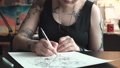 彫師 女性 ドローイングの動画 41746404